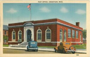 Postcard-Post-Office-Cheboygan-MI