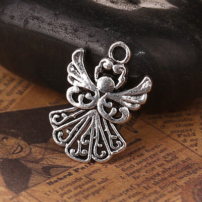20 Guardian Angel Charms Antique Silver Winged Angels 21mm x 26mm