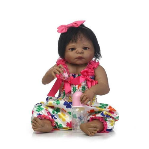 Black Cute Newborn Baby Girl Silicone Full Body Reborn Doll African American 22/""