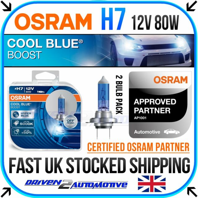 2 x osram h7 cool blue boost 12v 80w xenon hid look bulbs. Black Bedroom Furniture Sets. Home Design Ideas