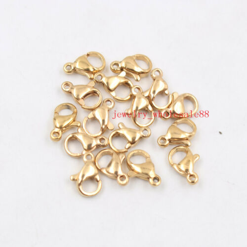 100pcs//500pcs Gold Stainless steel lobster clasps /& Hooks jewelry finding DIY