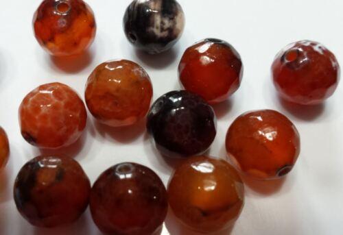 5 perles semi précieuses gemmes AGATES 10mm à facettes noir et ambre ////1