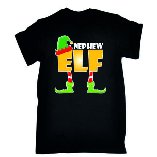 Novelty Funny X-mas Day Black Loose Fit T Shirt ELF Family Christmas T-Shirts