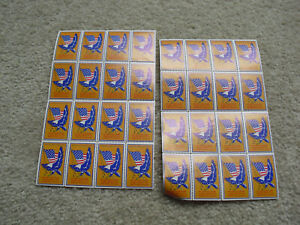 Lot of 2 Vintage Sheets of 20 Charity Stamps National Rifle Association Flag