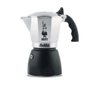 Bialetti BRIKKA 4-Cup Silver & Black Stovetop Espresso Maker 00442