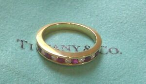 TIFFANY-amp-CO-18K-Yellow-Gold-Diamond-and-Ruby-Size-6-Band-Ring