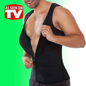af8c99f6a3d Gym Mens Shaper Corset Sweat Vest Body Latex Control Zipper Waist ...