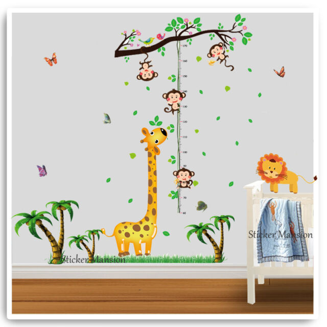 giraffe monkey height chart wall stickers animal jungle zoo nursery