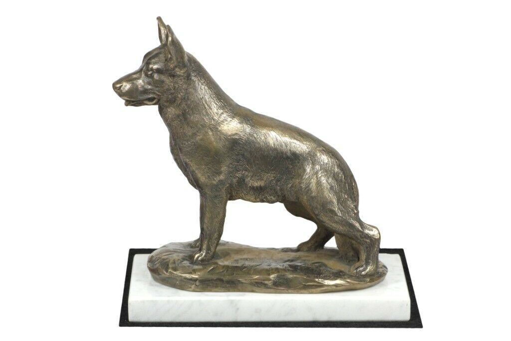 German Shepherd  figurine made of Cold Cast Bronze on the white marble, Art Dog