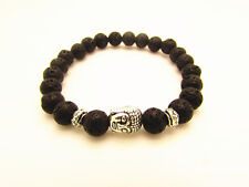 Lava Stone Beaded Silver Buddha Head Bracelet/Bangle/buddhist/hinduism/8mm beads