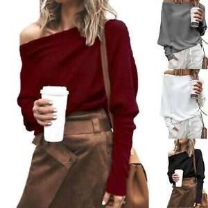 Womens-Long-Sleeve-Pullover-Loose-Sweater-One-Shoulder-Jumper-Sweatshirt-Tops-XL