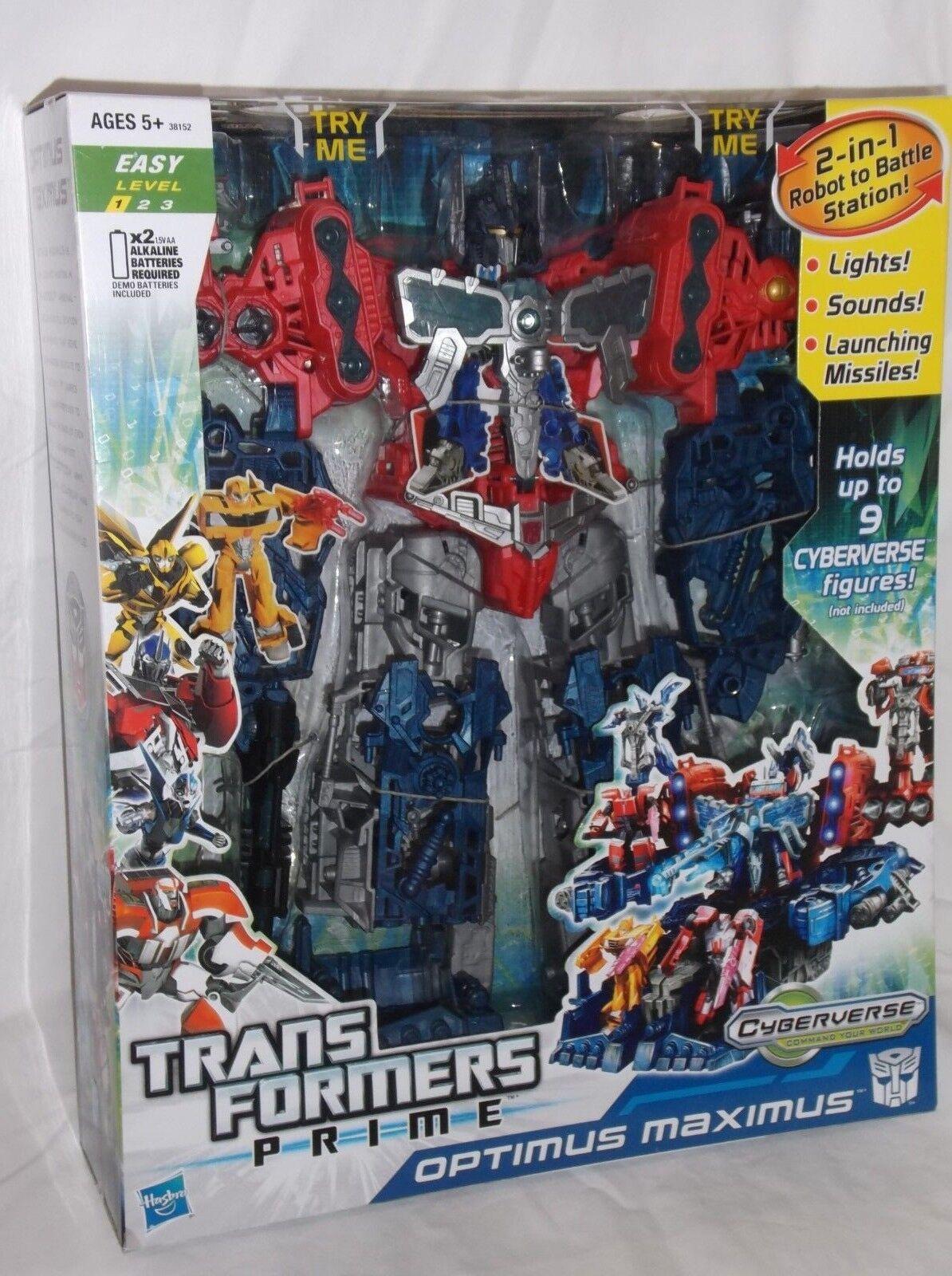 HASBRO Transformers cyberverse Prime Optimus Maximus Lights Sound missiles Robot