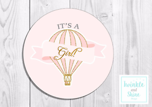 35 It/'s a Girl Thank You Stickers Hot Air Balloon Gender Baby Shower Cute