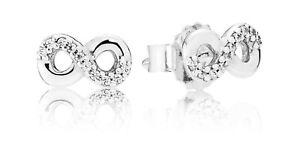 82c44f5b9 Image is loading Genuine-Pandora-Infinity-Love-Sterling-Silver-Stud-Earrings -