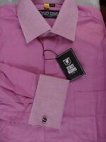 Stacy Adams Pink White Men Long Sleeve Dress Shirt Pocket French Cuffs 15 32/33