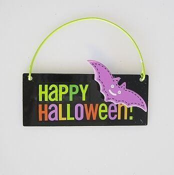HALLMARK 2011 HAPPY HALLOWEEN - Metal Sign with BAT - NEW COND