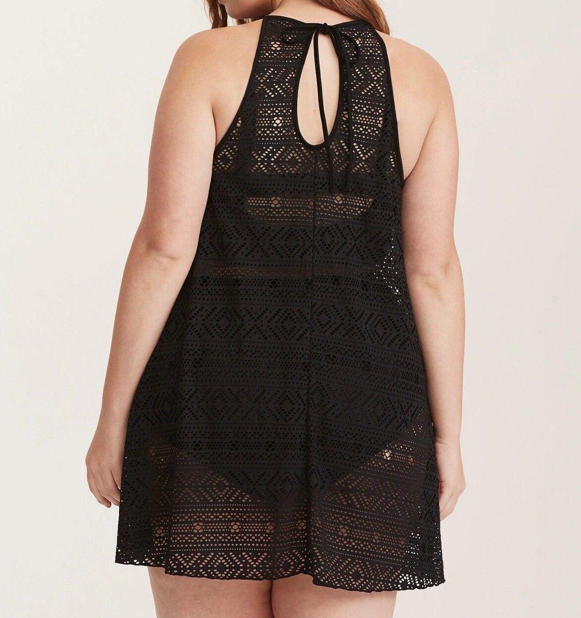 b52aa20af4 Torrid Black Crochet Halter Neck Swim Cover up 2x 18 20  12207 for ...