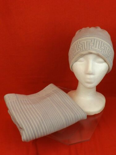 c229c4dcf18 11 of 12 Nwt Tory Burch Heather Gray Striped Merino Wool Logo Infinity Scarf    Hat Set