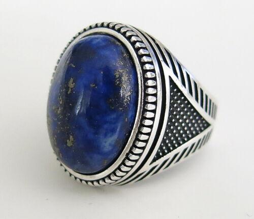Fait à la Main Naturel Lapis Lazuli Pierre Solide 925 Argent Homme Bague Toutes