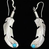 Sterling Silver Native American Turquoise Feather Earrings Et129