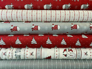 Green Pine Trees Christmas with Stars 100/% cotton fabric 44 inch// 110cm Material