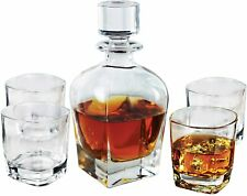Fitz and Floyd Michelle Wine Bourbon Whisky, 24oz, 5 PIECE Glass Decanter SET