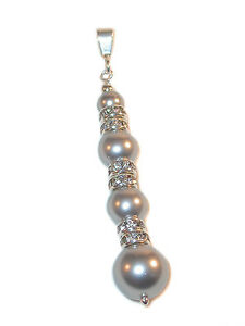 Long-LIGHT-GREY-Pearl-Pendant-Sterling-Silver-Swarovski-Crystal-Elements-Gray