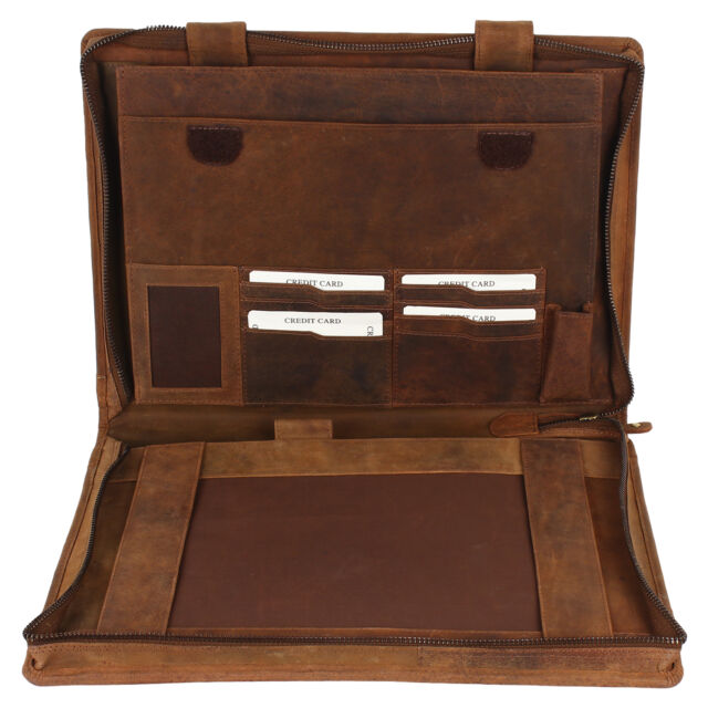 Mens Leather Business Meeting Documents Portfolio Folder Case Card Pen Holder