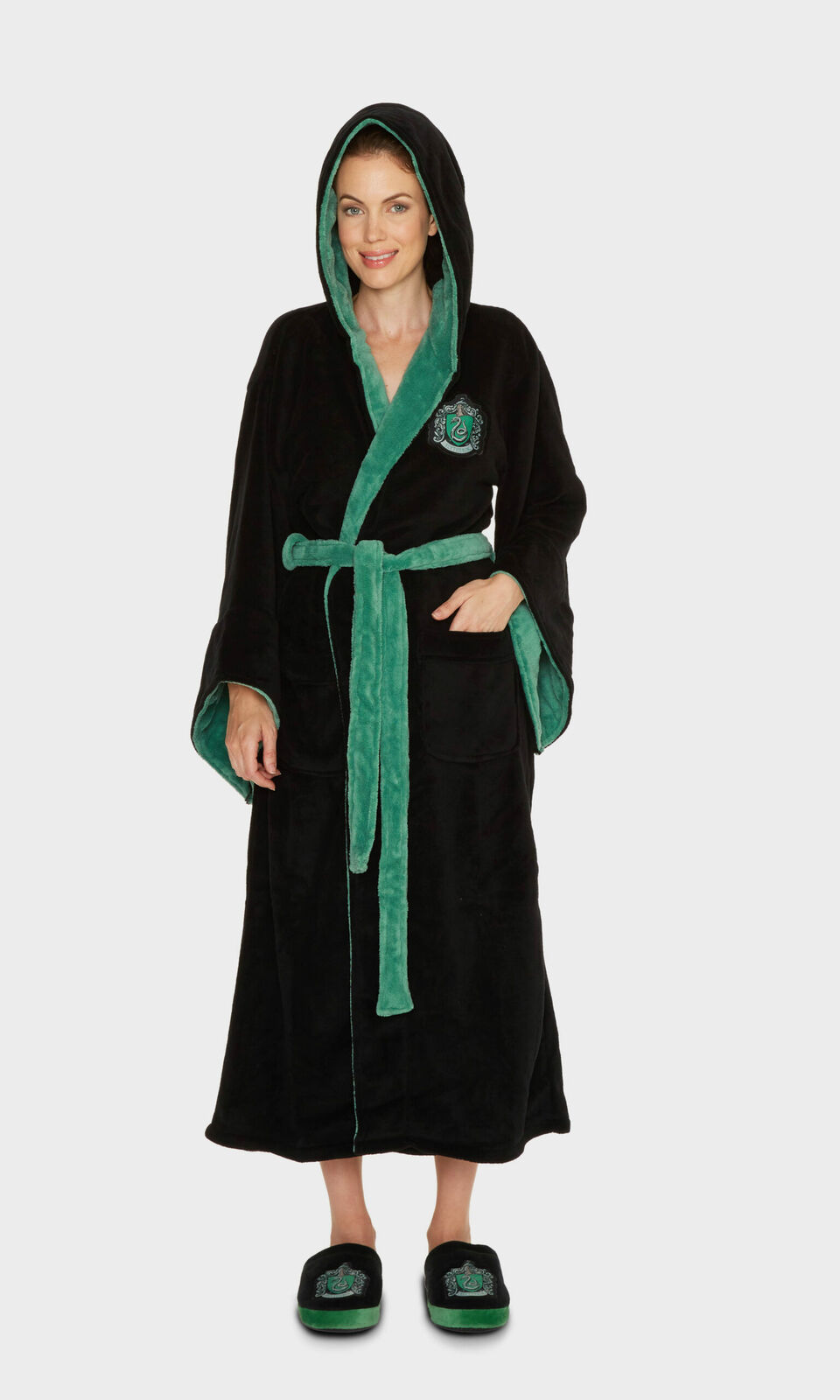 Ladies Harry Potter Slytherin House Hooded Dressing Gown Robe