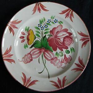 N47-Belle-assiette-ancienne-FAIENCE-DE-L-039-EST-decor-floral-Les-Islettes-Lunevill