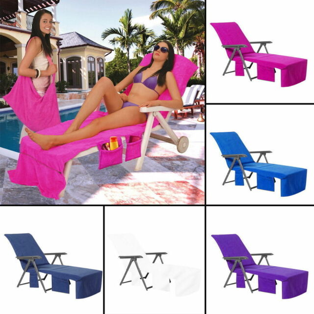 Chair with Pockets Soft Towel Cover for Garden Sun Lounger Beach Chair Holiday
