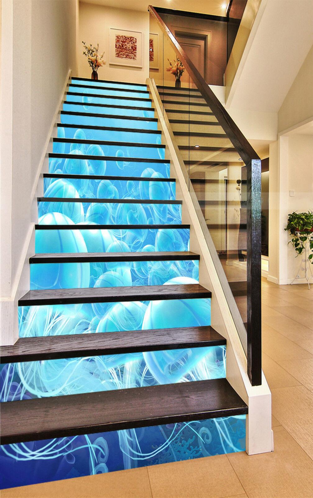 3D blue Qualle 473 Stair Risers Dekoration Fototapete Vinyl Aufkleber Tapete DE