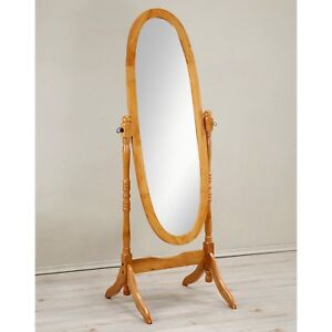 Cheval Floor Mirror Wood Full Length Oval Shape Free Standing Wooden ...