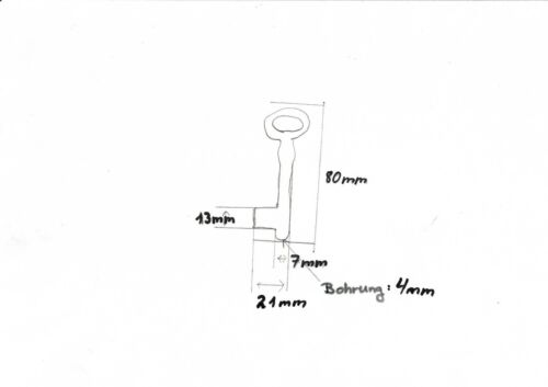 Schlüßel,Schlüssel Rohling weibchen 80 mm mit LochEisen