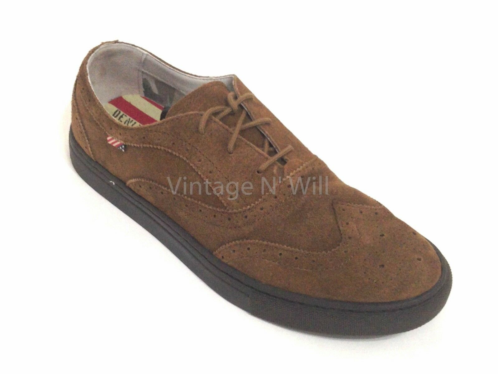 Denim Supply Ralph Lauren Mens 11 Claudio Wing-Tip Brown Suede Leather Sneaker