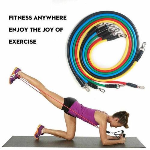 11 PCS Resistance Band Set Yoga Pilates Abs Exercise Fitness Tube Workout Bands