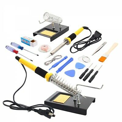 18in1 110V 60W Soldering Iron Tools Kit Set w// Tin Wire Iron Stand Desolder Pump