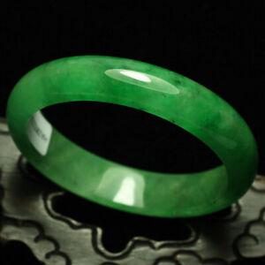 58mm-Certified-Grade-A-Natural-Green-Jadeite-JADE-Bracelet-Bangle-1229