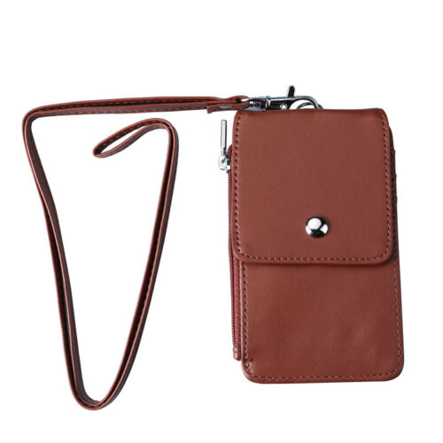 US ID Badge Card Holder Pu Leather 5 Slots With Neck Strap Lanyard Necklace