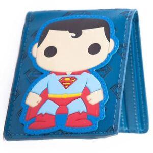 Funko-Pop-Heroes-Superman-Cartoon-Blue-Bi-Fold-Wallet-DC-Comics