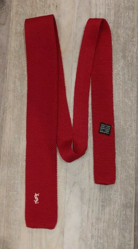 """Vintage 80s YVES SAINT LAURENT Red Wool Skinny Square Knit Neck Tie 2"""" X 53"""""""