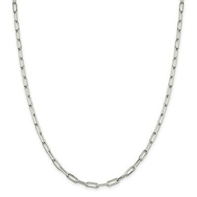 """18/"""" 4 mm Long Lien Câble .925 Solid Sterling Silver Chain Necklace Made in Italy"""