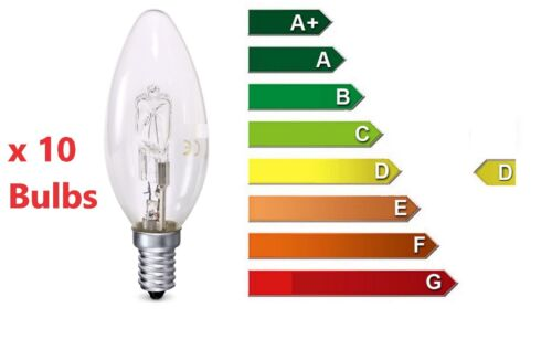 10 x 30W=40w Candle SES E14 Small Screw Long Life Clear Halogen Light Bulb