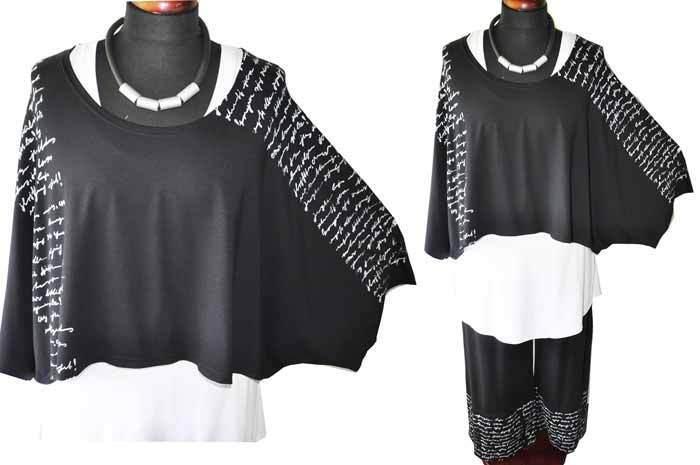 Estilo de Capas  Jersey-Big-Kurz-Shirt Estampado Cocheta Negro  marcas de moda