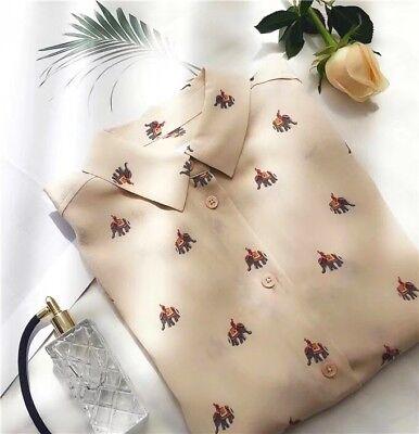 New 100/% silk Elephant print Equipment long sleeve ladies elegant shirt blouse