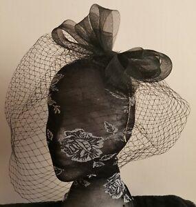 Voile Noir Bandeau Serre-tête Mariage Fête Pièce Course Ascot Funérailles-afficher Le Titre D'origine