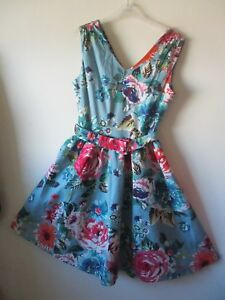 Dolly Roses 16 1950s cintura Duck Tea Fit Dotty Dress Blue Egg Nuovo Sz svasata UvrqUw7nC
