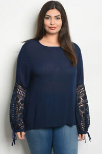 Womens-Plus-Size-Navy-Blue-Tunic-Top-Lace-Accent-3XL-New