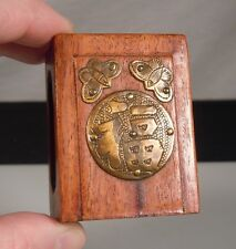 Chinese Carved Wood & Brass Matchbox Holder