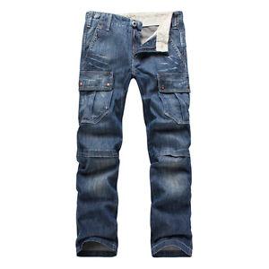 FOX-JEANS-Men-039-s-Monroe-Regular-Fit-Straight-Blue-Denim-Cargo-Jeans-SIZE-32-44